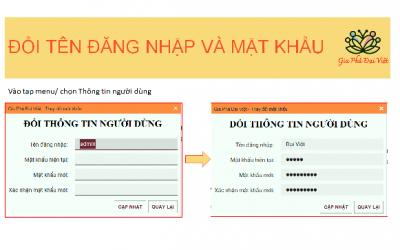Đổi tên đăng nhập và mật khẩu của Gia Phả Đại Việt